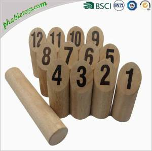 Outdoor Viking Wooden Bowling Skittles Games Set / Wooden Throwing Games Set