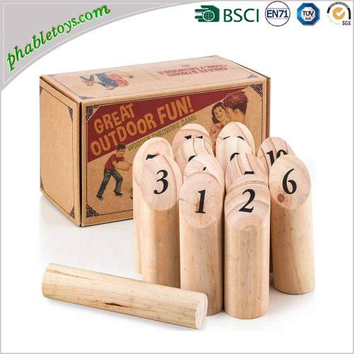 Outdoor Viking Wooden Bowling Skittles Games Set / Wooden Throwing Games Set