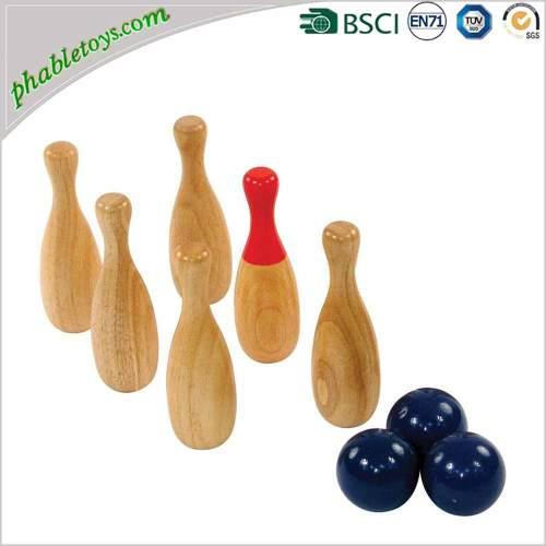 Wooden Skittles Ball Games / Wooden Backyard Garden Lawn Throwing Bowling Games Set