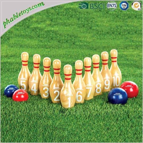 Wooden Yard Garden Lawn Throwing Bowling Games Set / Wooden Skittles Games