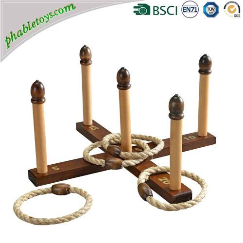 Classic Outdoor Wooden Yard Garden Rubber / Rope Cross Quoits Game / Wooden Ring Toss Games Set