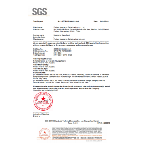 SGS Base Coat Test Report