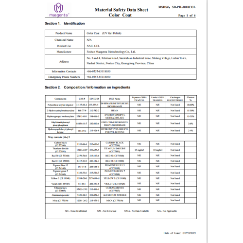Material Safety Data Sheet Color Coat