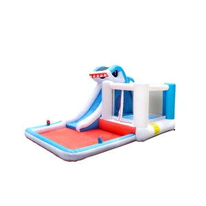 DD63001  Giant Commercial Children Bounce House Inflatable Shark Water Slide with Pool
