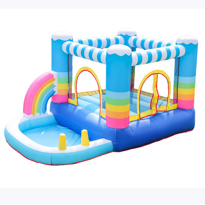 DD62112 Rainbow Inflatable Bounce House Jumper Colorful Inflatable Bouncing House for Kids