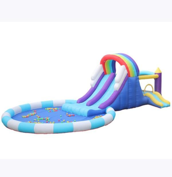 DD63102 Venta comercial gigante Tobogán de aire adulto Tobogán acuático inflable de PVC para niños con piscina