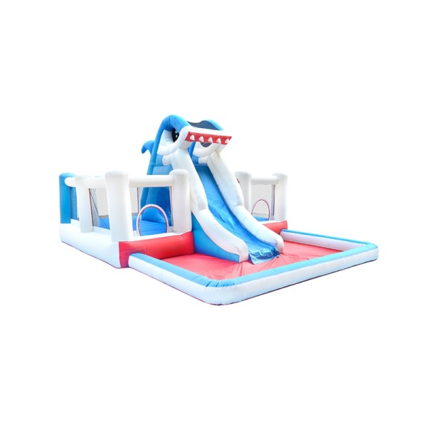 DD63019 Commercial Bounce House Children Jumping Castle Inflatable Shark Water Slide with Pool