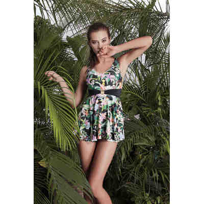 TJ green Floral pattern beachwear