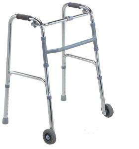 Height Adjustable Folding Aluminum Walker with two Wheels