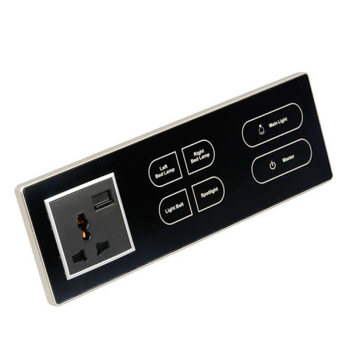 Electrical Soft Touch Sensor Panel Light Switch With Socket Board