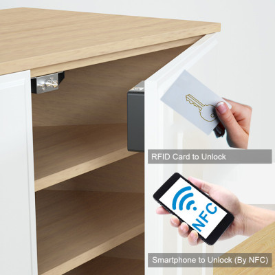 Invisible Design Wood Cabinet Lock With RFID Card And Smartphone Unlock