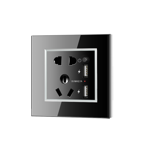 Multifunctional Glass Panel 13 Amp Wall Outlet Socket With 2 USB Port