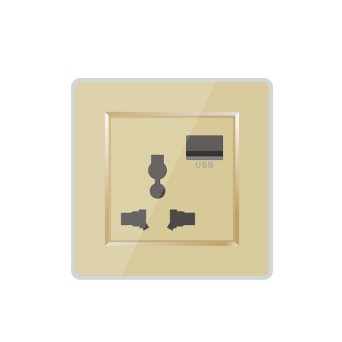 Wall Mounted International Universal 3 Pin Socket Outlet With USB Plug Port Charger