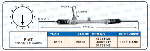 28166 Hydraulic Steering Gear/ steering rack for STILO MULTI WAGON 46784126, 46826717,51733142