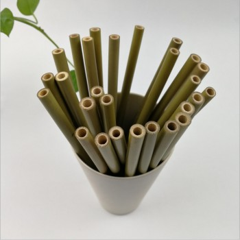 6mm Professional made organic reusable drinking bamboo drinking straws paper straw bamboo