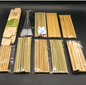 100% Natural Bamboo Drinking Straws with customized logo and clraning brush