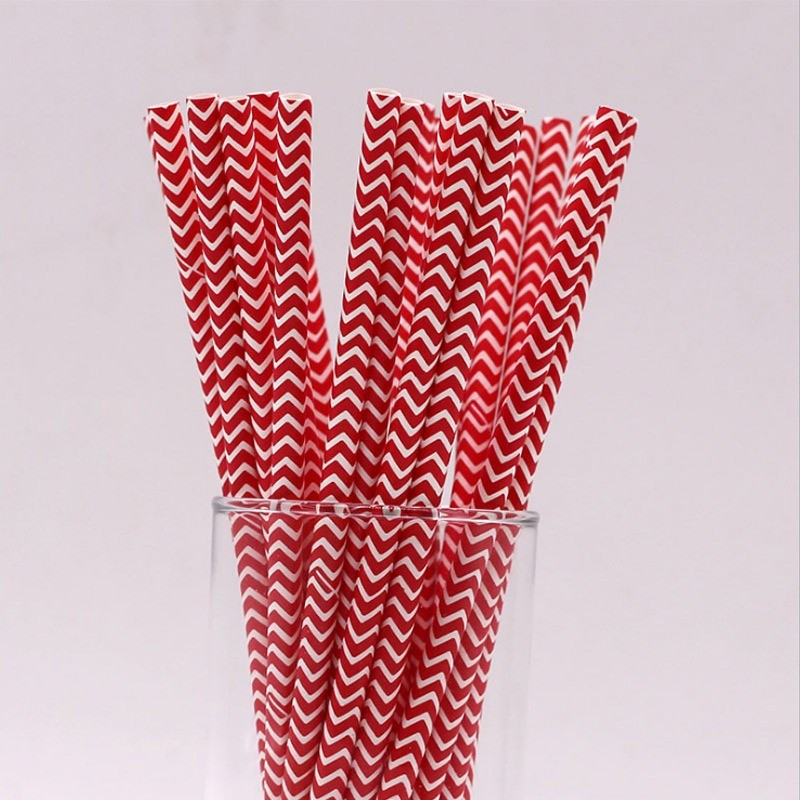 6mm Red wave Paper Straw of SPUNTREE