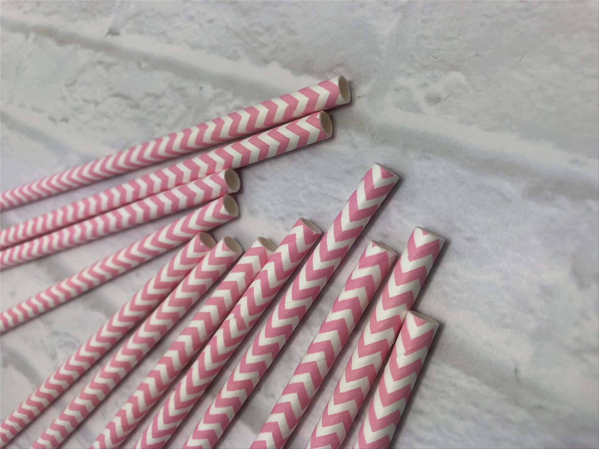 8mm pink wave Paper Straw