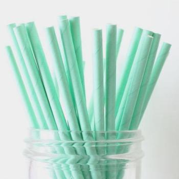 6mm Spuntree Solid color Degradable mint green Paper Straw
