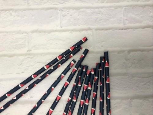 青い紙ストローに6mmのカラフルなカスタム印刷された使い捨ての生分解性の赤いクリスマス帽子