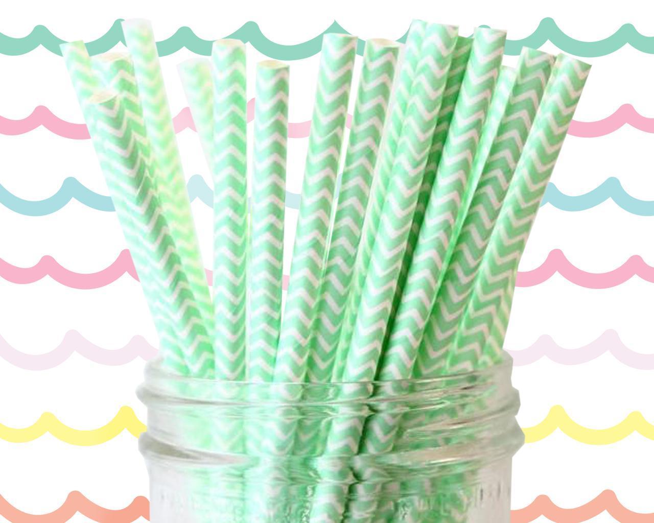 6mm Degradable mint green chevron striped Paper Straw