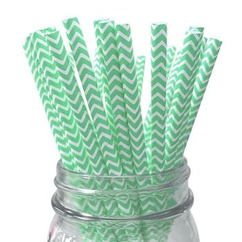 6mm Degradable Color one-time party mint green chevron striped Paper Straw