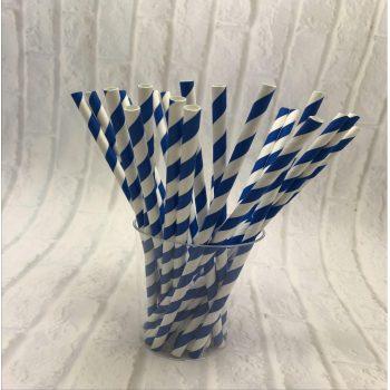 6mm Blue stripe Paper Straw