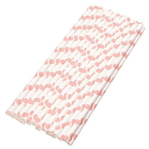 6mm Degradable white with big pink polka dot Paper Straw