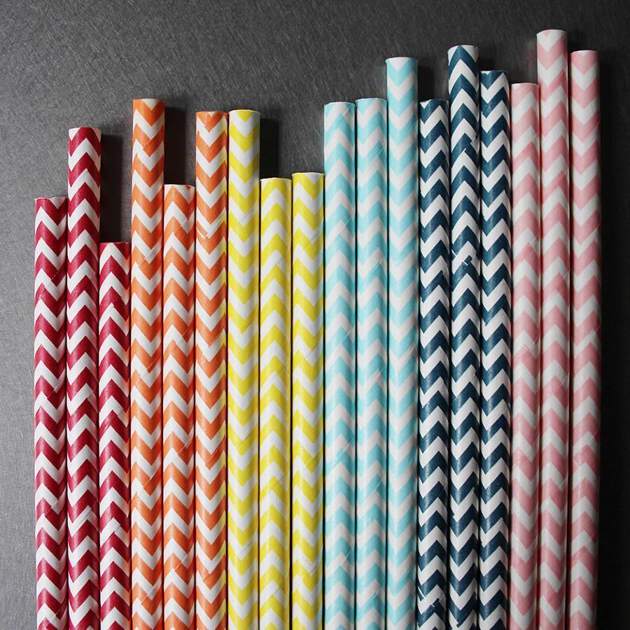 6mm Degradable chevron striped Paper Straw
