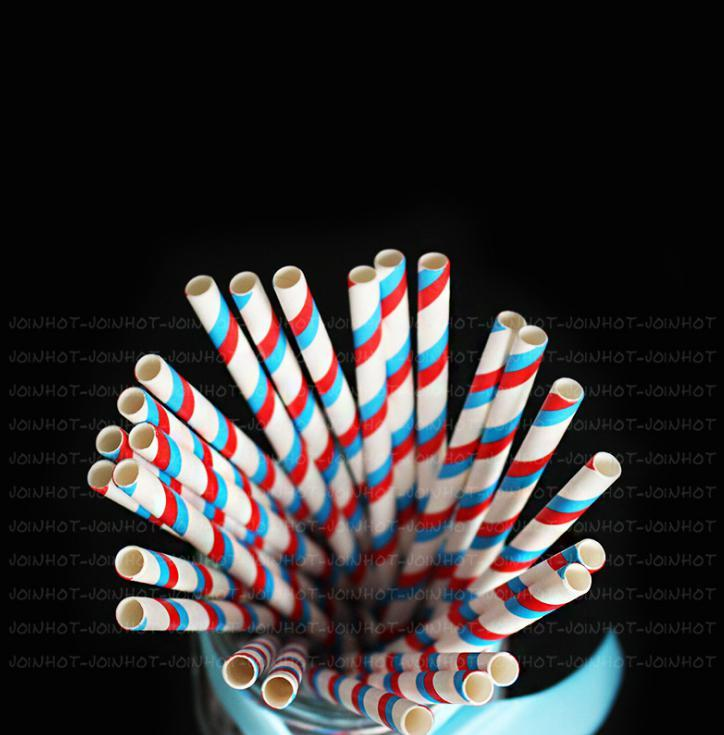 6mm Degradable blue and red stripe Paper Straw