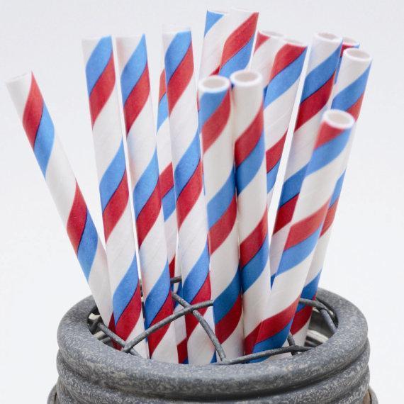 6mmの分解可能な青と赤のストライプペーパーストロー