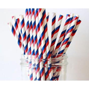 6mm Spuntree Degradable Creative Juice Art Deco Blue and Red Striped Paper Straw