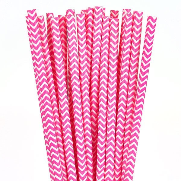 6mm pink chevron striped Paper Straw