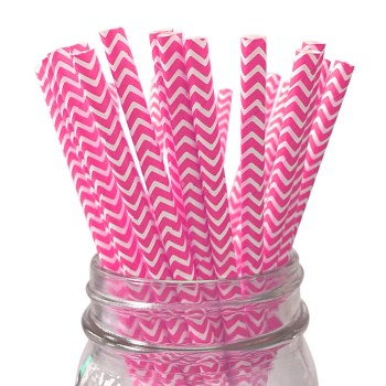 6mm Eco-friendly paper biodegradable green drinking strawDegradable pink chevron striped Paper Straw