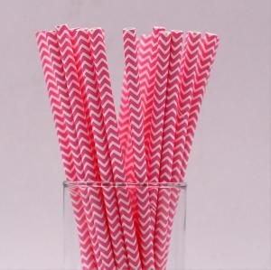 6mmの環境に優しい紙の生分解性の緑のストロー分解可能なピンクのシェブロンの縞模様の紙のわら