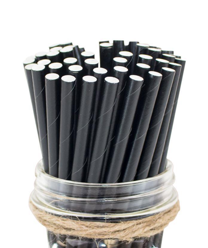 6mm Degradable black Paper Straw