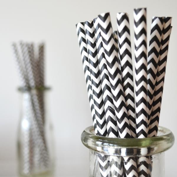 6mm Degradable black chevron striped Paper Straw of SPUNTREE