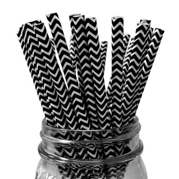 6mm Degradable black chevron striped Paper Straw