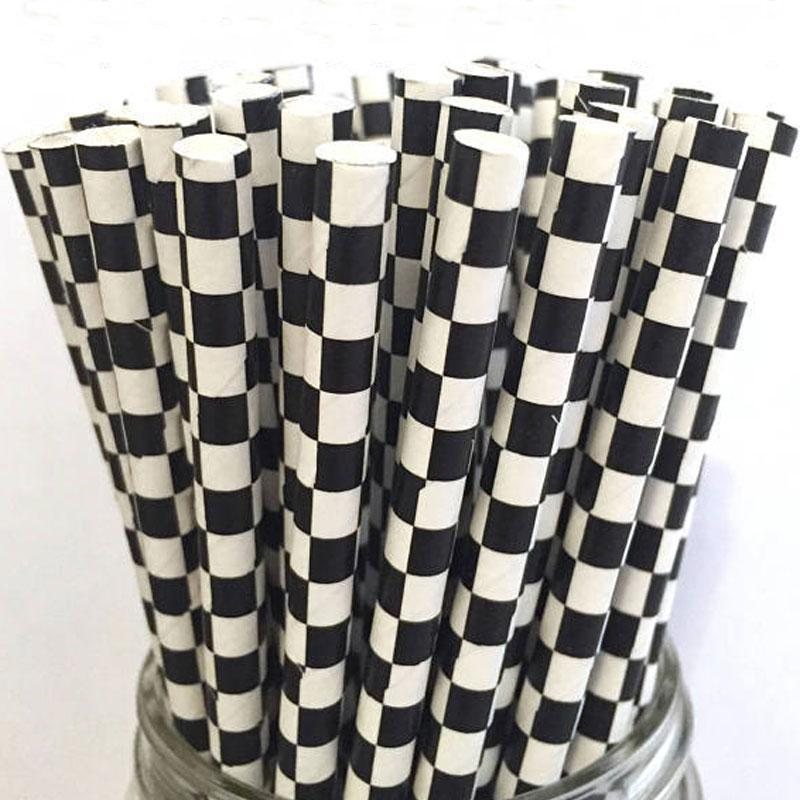 6mm Degradable black checkered Paper Straw