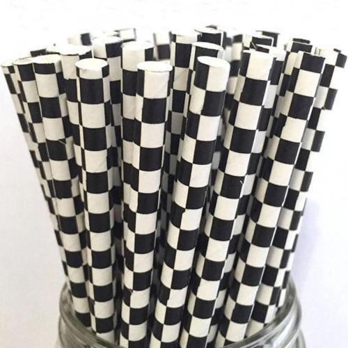 6mm Spuntreeの創造的な環境の熱い分解可能な黒の市松模様の紙のわら