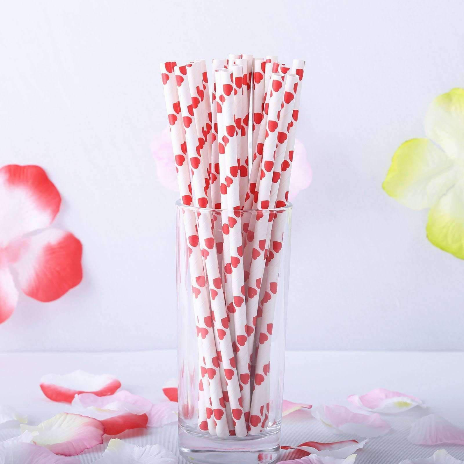 6mm Degradable white with red heart Paper Straw