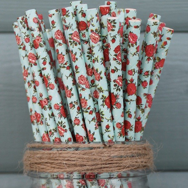 6mm Degradable blue with red flowersPaper Straw