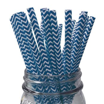 6mm Party Creative Disposable Milk Tea Degradable blue chevron striped Paper Straw