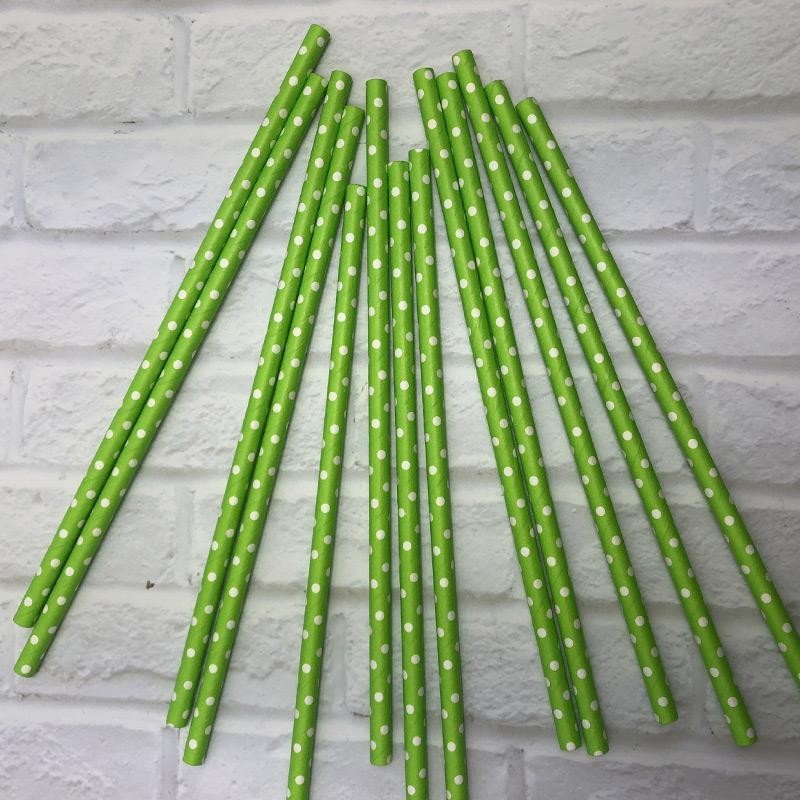 6mm Degradable green with small white polka dot Paper Straw