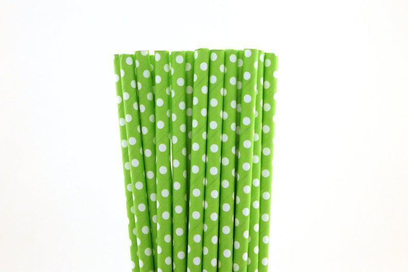 小さな白い水玉ペーパーストローと6 mm分解性グリーン
