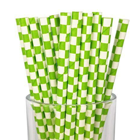6mm Degradable green checkered Paper Straw