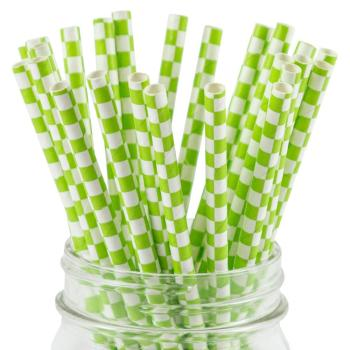 6mm Spuntree hot and high quality Degradable Craft Eco green checkered Paper Straw