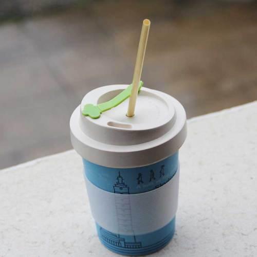 Spuntree生分解性再利用可能450 ml竹繊維コーヒーカップとシリコン蓋とスリーブ