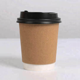 High quality disposable coffee paper cup with plastic lid sleeve