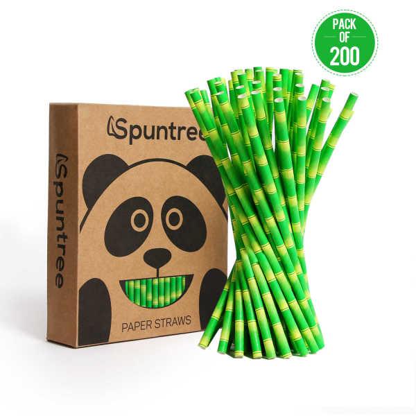 Spuntree disposable creative environmentally friendly Green Bamboo Paper Straws